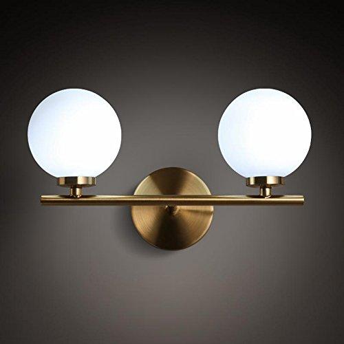 GUORZOM Metallwandlampe Gold 3W LED (G4 Lampe Perlen 2) Schmiedeeisen Einfache Wandbehang Wohnzimmer Schlafzimmer Lichter Dekoration (Birne Gold-wandhalterung)
