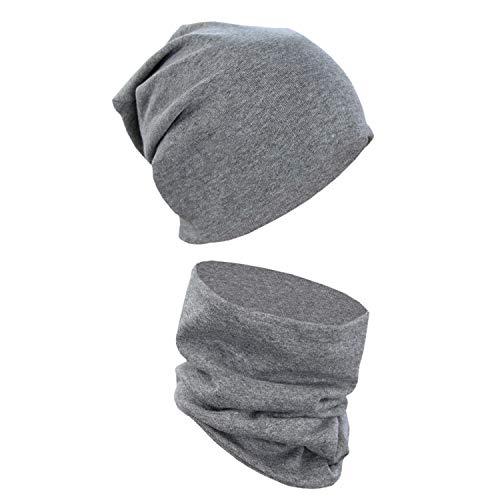 Alkato Unisex Beanie Mütze und Schal Set Uni, Farbe: Dunkelgrau Meliert, Größe: Einheitsgröße
