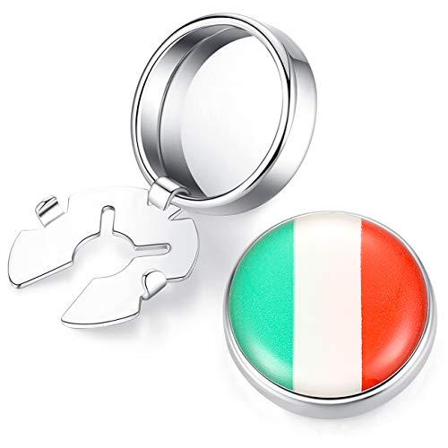 HONEY BEAR Herren Flagge Manschettenknöpfe Cufflinks Edelstahl Manschettenknopf für Hemd, ButtonCuff Knopfclips für gewöhnliche Hemden Hochzeit Geschäft Geschenk (Italienisches Italien Flagge)