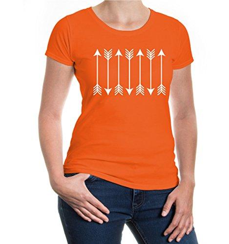 buXsbaum® Girlie T-Shirt Archery Arrows Orange-White