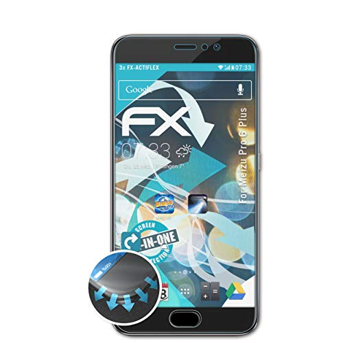 atFolix Schutzfolie passend für Meizu Pro 6 Plus Folie, ultraklare & Flexible FX Bildschirmschutzfolie (3X)