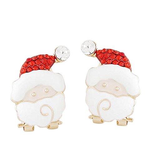 Cdet Pendiente serie de Navidad moda cristal santa claus diseño amante regalos para niñas accesorios de joyería,Rojo