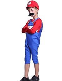 Super Mario & Luigi Klempner Kostuem fuer Kinder Jungen Maedchen Halloween Anzug Vidiogames Csoplay