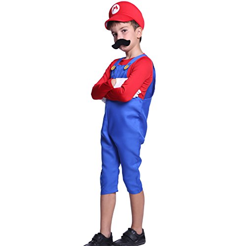 Gr.M Mario Super Mario Klempner Kostuem Mario & Luigi fuer Kinder Jungen Maedchen Halloween Anzug Vidiogames ()