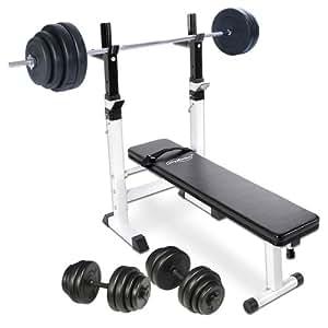 Physionics - Banc de Musculation avec Repose Barre + Haltère Long 60 kg + Haltères Courts 30 kg