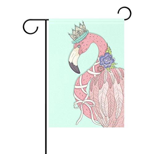 Duble Sided Queen Flamingo mit Blume Krone lila Farbmuster Flower Polyester HAUS/Garten Flagge Banner 12x 18/71,1x 101,6cm für Hochzeit Party alle Wetter, Polyester, rose, 28x40 (Banner Krone)