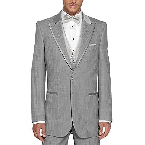 MYS Men's Custom Made Peak Satin Lapel Suit Pants Vest Tie Set Grey Tailored