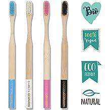 Charles Germain Cosmetics - Cepillo de dientes de bambú, madera - Lote de 4 -