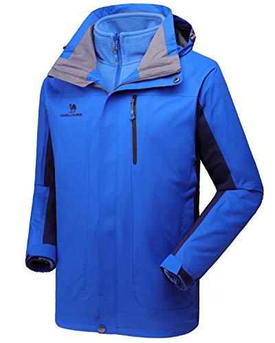 Camel crown giacca impermeabile da uomo, giacca da sci con caldo pile interno, cappotti da uomo 3 in 1