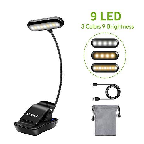 MOSUO 9 LED Leselampe Buch Klemme Buchlampe Wiederaufladbar Klemmleuchte mit 3 Licht (Warmes, Weißes und Warmweißes), 3-Stufe Helligkeit, USB Kabel, für Buch, Bett, Notenständer- Horizontal Kopf