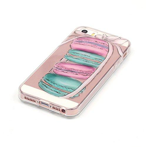 Pheant® Apple iPhone SE/5S/5 Coque TPU Gel Étui Housse de Protection Transparent Cas(Fleur de Prunier) Coloré Plume