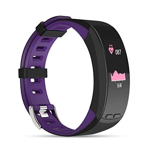 UMGZY Rastreadores de Ejercicios Pulsera Inteligente GPS para Exteriores Resistente al Agua Multideportivo Monitor de Ritmo cardíaco Monitor de presión Arterial para iOS Teléfono Android,Purple