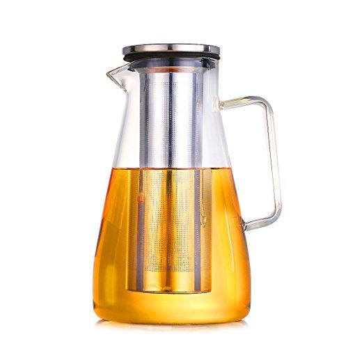 mit 1.8L Wasser-Karaffe, Glas hitzebeständig borosilicate Krug aus Edelstahl, mit Deckel und Teesieb, Tee, Wein-Dekanter für Wasser, Milch, Saft und Eis in der bpa-free Karaffe Kanne, Braun (8Liter)