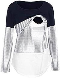 ❤️ Blouse de Maternité, Solike Femme T-Shirt Chic Tops à Rayé Manches Longues Bébé Allaitant Enceinte Grossesse Tops de maternité Hauts Pullover de Allaitement Sweats