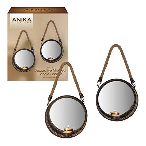 Anika 2Stück Dekorative Schwarz Metall gerahmt Geometrische Muster Spiegel Rückseite Kerze...