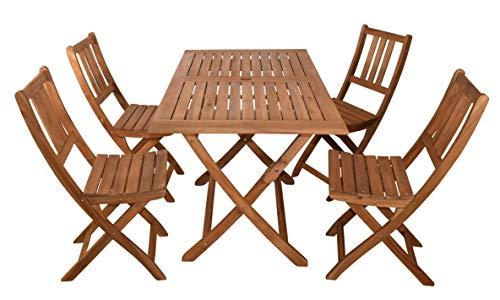 SAM 5-TLG. Gartengruppe Callao, 1x Tisch 120x70 cm + 4X Klappstuhl Blossom, Balkon-Set, Ak