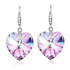 Idea Regalo - Cuore di cristallo Swarovski orecchini per donne regalo di pietra dei nati gioielli rodio placcato viola