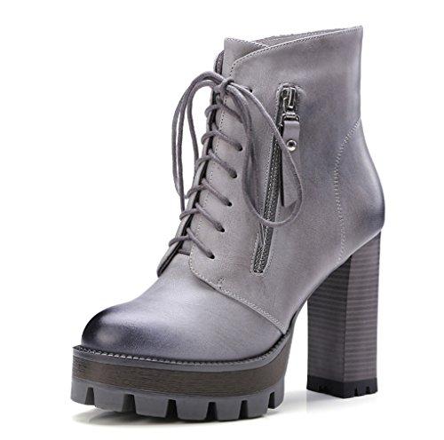 JAZS® Martin boots Short boots Large size Female Autumn And Winter Europa e Stati Uniti Spazzola impermeabile Taiwan Ruvida con scarpe col tacco alto Comodo, resistente all'usura, sexy, dolce. ( Color Grigio