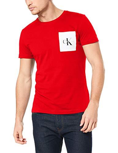 Calvin klein jeans uomo - t-shirt in cotone rosso con taschino signature - taglia l