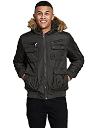 Mens Jacket by Brave Soul 'Knight' Bomber Coat Fur Hooded Sizes S - XXL