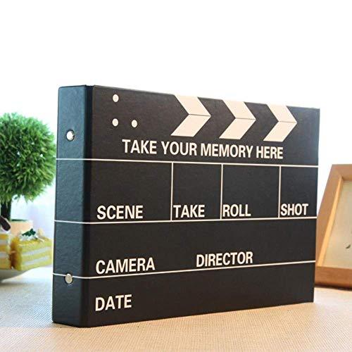 Dufeng Fotoalbum Scrapbook Fotoalbum DIY Handmade Album 10 Zoll Inner Film Album Handgemalte Kreative Scrapbooking for Liebhaber Baby-Aufkleber Wedding Album, Schwarz (Color : Black)