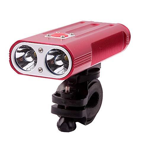 Luz de bicicleta Gran capacidad Faros LED Luz de alta intensidad para bicicleta de carretera Modo 7 Iluminación Aleación de aluminio antivibración (Color : Rojo, Size : One Size)