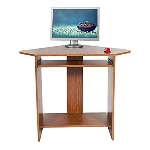 Mari Home - Clifton Walnut Home Office Computer Corner Desk Workstation with Keyboard (Ufficio Noce Scrivania)