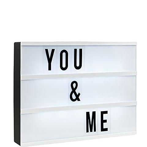 BUTLERS Lightbox - Leuchtkasten mit flexiblen Zeichen oder zum selbst beschriften (Medium: 31cm x