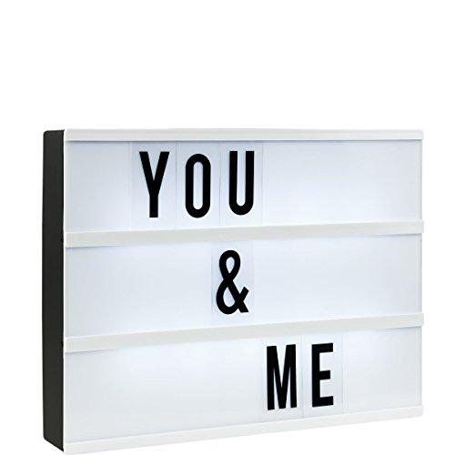 BUTLERS Blockbuster Light Box - A4 Leuchtkasten mit 85 flexiblen Buchstaben und Zeichen - Vintage Kino Lightbox selbst gestalten - Stimmungslicht batteriebetrieben -