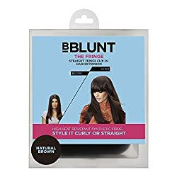 BBlunt the Fringe Straight Fringe Clip on Hair Extension, Natural Brown