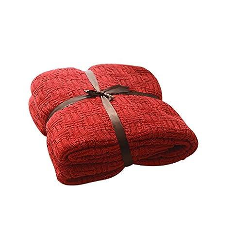 MYLUNE HOME 100% Coton Couverture tricot mérinos élégante de luxe pour regarder la télévision ou la selle sur chaise, canapé et lit,Double face Couvertures (180*200cm, red)