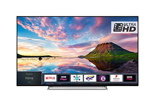 Toshiba 55U5863DB 55-Inch Smart 4K Ultra-HD HDR LED WiFi TV with Freeview Play- Black/Silver (2018 Model) (Certified Refurbished)