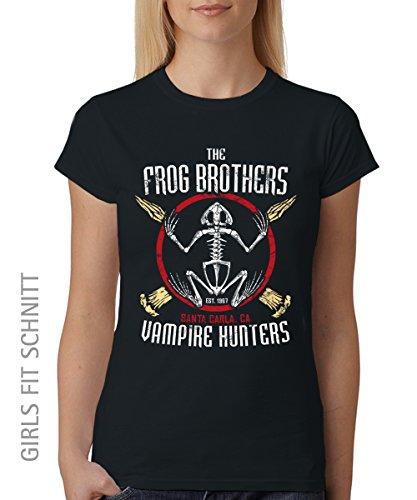 clothinx Frog Brothers Damen Fit Shirt auch im Damen Unisex Schnitt Schwarz