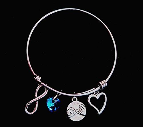 Beste Freunde versprechen Sie mir Charme verstellbaren Draht Armreif Armband mit blauen Liebe Herz Kristall Stein Infinity baumeln