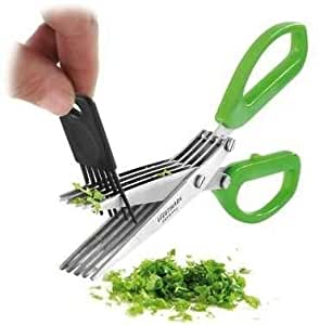 Shopo Branded Multi-Functional Stainless Steel Kitchen Knives 5 Layers Scissors Cut Herb Spices Cooking Tools Vegetable Cutter With Cleaning Brush