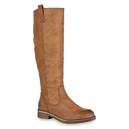 Klassische Damen Stiefel Leicht Gefüttert Block Absatz Schuhe 148562 Hellbraun Brooklyn 40 Flandell