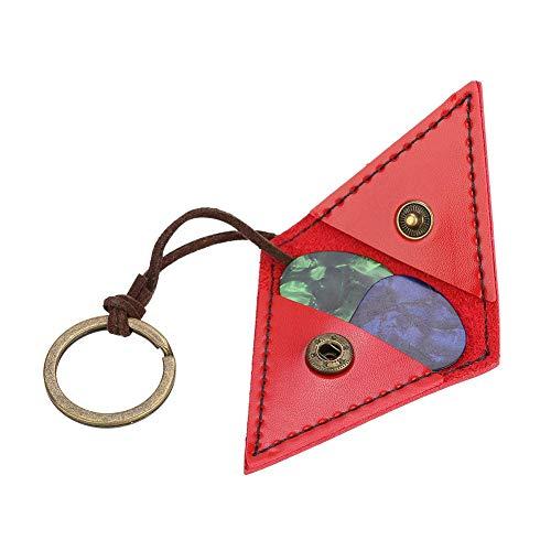 Fafeims Gitarren-Plektrum-Tasche, Gitarren-Plektrum-Halter Gitarren-Plektren PU für Gitarren-Plektrum-Schlüsselring-Tasche Gitarren-Zubehör(Rot)