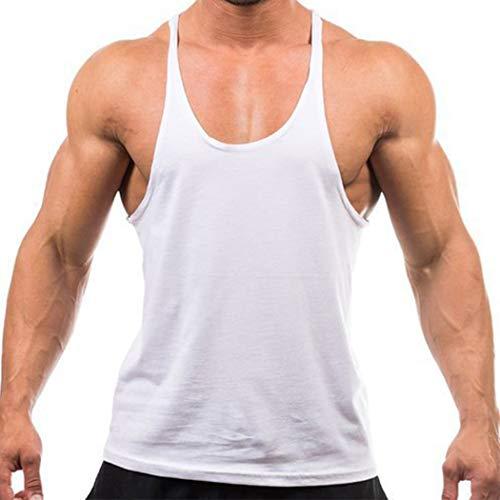 Volon Tanktop Herren Fitness Unterhemd Tankshirt Tops Sport Shirt Trägershirt Sommer Männer Bodybuilding Oberteile Tank Gym Baumwolle