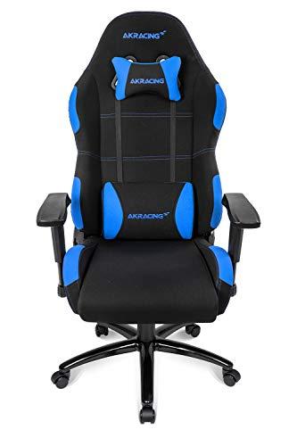 AKRACING Core EX Wide Gaming Stuhl mit 5 Jahren Herstellergarantie für PC/PS4/XBOX/Nintendo, Schreibtischstuhl mit Kissen, Stoffbezug - Schwarz/Blau