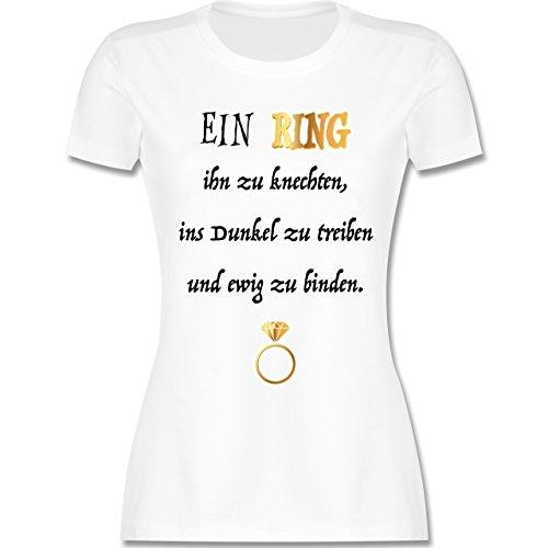 JGA Junggesellinnenabschied - EIN Ring. JGA - M - Weiß - L191 - Damen Tshirt und Frauen (Frauen Fantasy Braut Kostüme)