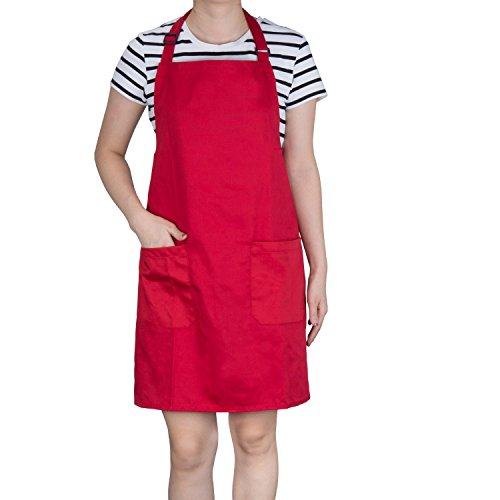 Kochschürze, Diealles Schürze Küchenschürze mit Bindeband und Verstellbare Nackenschlaufe für Frauen Männer Chef, 71 × 66 cm, Rot
