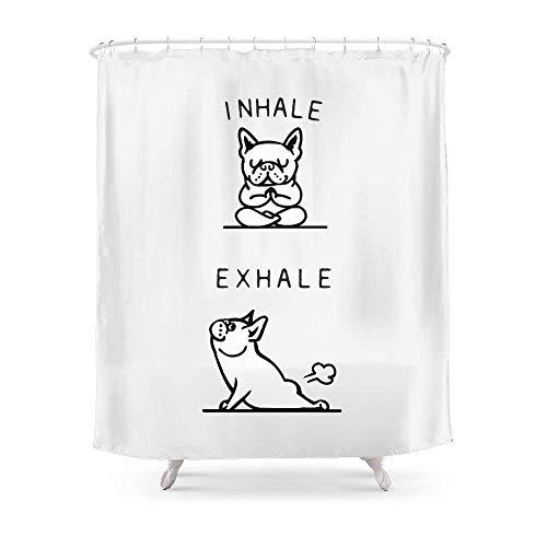 Suminla-Home Badezimmer einatmen ausatmen Französische Bulldogge Duschvorhang 182,9cm von 182,9cm -