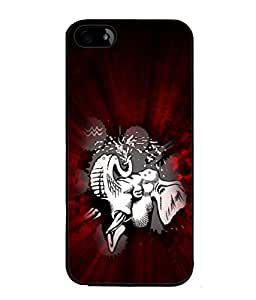 PrintVisa Designer Back Case Cover for Apple iPhone 4S (The Elephant In Classy Red Background)