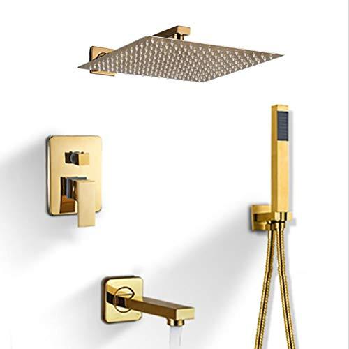 SMEI Badezimmer Dusche Wasserhahn Dusche Kopf Gold Edelstahl Wandhalterung W Hand Dusche Para Bad Dusche Mixer Wasser Hahn 10 Zoll (Druckknöpfe Aus Metall Antik-gold)