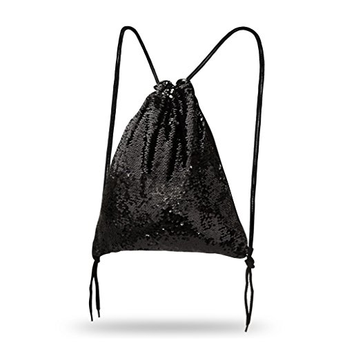 Lady Donovan - Turnbeutel Sportbeutel Tasche Bling Bag Jute-Beutel Glitzer einfarbig Schwarz