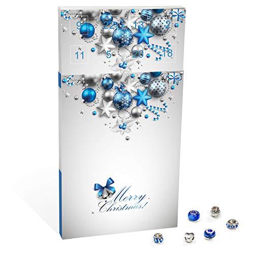 VALIOSA Mode-Schmuck Adventskalender,Merry Christmas\' mit Halskette, Armband + 22 individuelle Perlen-Anhänger aus Glas und Metall, blau, Das Besondere Geschenk für Mädchen und Frauen
