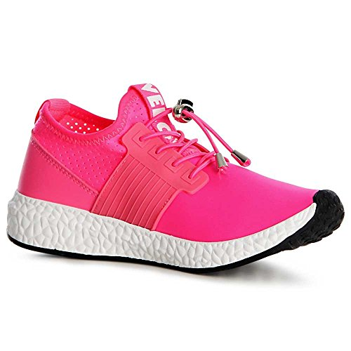 topschuhe24, Sneaker donna rosa fluo