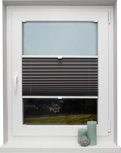 Plissee auf Maß verschiedene Farben für alle Fenster Montage in der Glasleiste Faltrollo Blickdicht mit Spannschuh Sonnenschutzrollo Fensterrollo Plissee Rollo Dunkelgrau Breite: 61 - 70 cm, Höhe: 151 - 200 cm