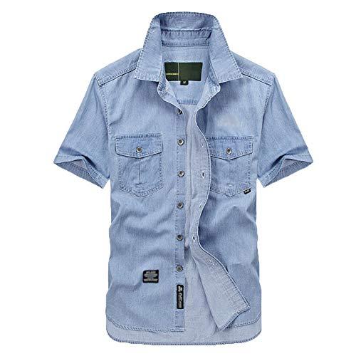 Blusa Hombres Camisa Vaquera de Manga Corta Suelto Color Sólido con Botones Zarco 3XL