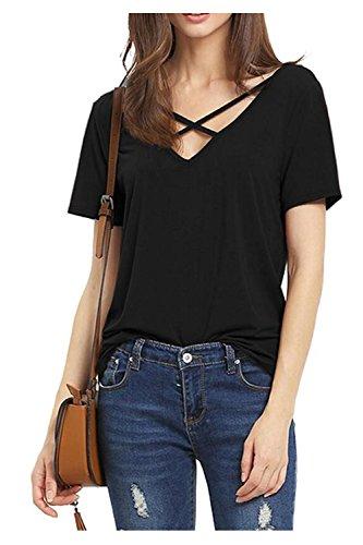 Beaii Damen Sommer V-Ausschnitt mit Schnürung Vorne Kurzarm T-Shirt Locker Tops Bluse Shirt